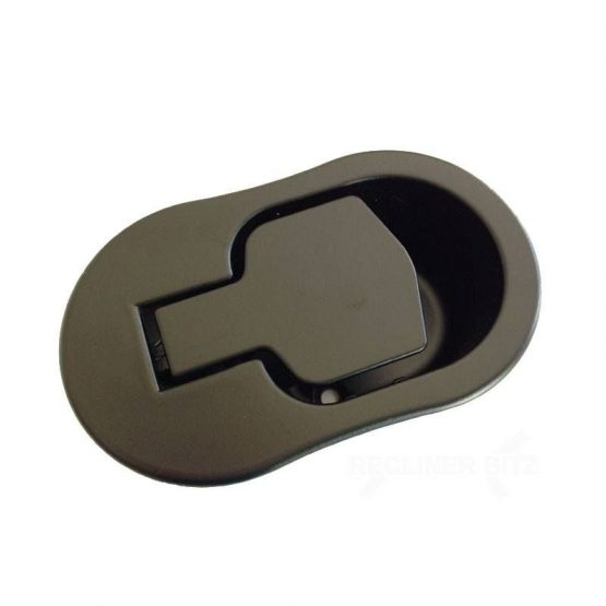 Recliner handle black metal oval shape with 6mm barrel H1311