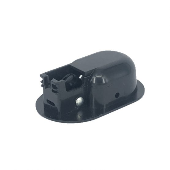 Bottom view of black plastic oval shape recliner handle H1370