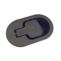 Recliner handle black plastic oval shape with 6mm barrel H1370